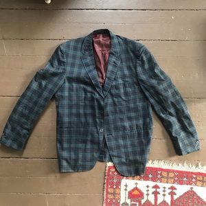 Vintage 60s plaid three button blazer